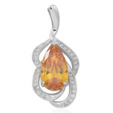 CANARY YELLOW AND WHITE VVS SIMULATED DIAMOND FINE STERLING SILVER OVAL PENDANT