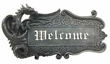 "15""L Medieval Gothic Dragon Welcome Sign Wall Mount Plaque Hanging Home Decor"