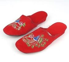 """Embroidered Wild Peacock Chinese Women's Cotton Slippers 1.5"""" Heel Red Size 5.5"""