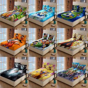 Dragon Ball Z Deep Pocket Fitted Sheet 3PCS Bed Sheet Pillowcases Set US Size