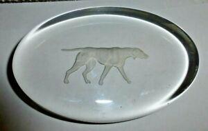 Fostoria Glass Co Moundsville W VA Hound Dog / Pointer Oval Paperweight