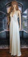 ABS by Allen Schwartz Deep V-Neck Embellished Silk Evening Wedding Gown Size 6