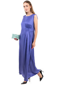 RRP €265 MALIPARMI Satin Maxi A-Line Dress Size 48 / XL Gathered Sleeveless