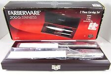 Farberware 200x Stainless Steel 2-Piece Carving Set Wood Presentation Box - NEW