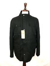 $225 NWT Ben Sherman Black Lined Wool Military Pea Coat Winter Jacket