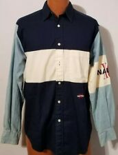 Nautica Long Sleeve Blue Stripe Mens Button Down Dress Shirt Size Small