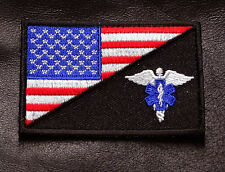 MEDIC EMT EMS USA FLAG EMBROIDERED 3 INCH IRON ON SEW ON  PATCH