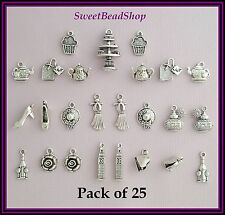 25 Antique Silver Colour Mixed Pack Afternoon Tea Charms Ladies Day Teapot Cake