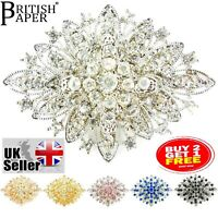 NEW SILVER GOLD PINS BROOCH RHINESTONE CRYSTAL BOUQUET VINTAGE MODERN LOT BOX UK