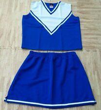 Adult L/Xl Real Royal Blue Cheerleader Uniform Top Skirt 39-41/32-35 Cosplay New