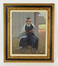 Vintage Judaica Oil Painting Rabbi Reading Torah Signed Lower right