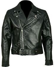 NEW MEN REAL COWHIDE LEATHER BRANDO PERFECTO GAY MORTORBIKE / BIKER JACKET
