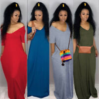 Women Sexy V Neck Short Sleeves Solid Color Pockets Loose Long Dress Casual