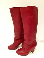 "ALDO ""Cropshop"" Dark Red Leather Knee Hight Boots U.S. Size 5 M Tall Pull On #16"