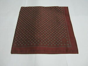 "USED DARK RED GEOMETRIC PATTERN COTTON 18"" HANDKERCHIEF POCKET SQUARE FOR MEN"