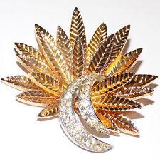 "Vtg Signed JOMAZ Joseph Mazer Gold+Rhinestone Feathers/Fireworks Brooch Pin 2"""