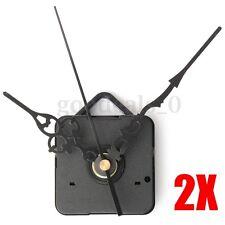 2x DIY Wall Quartz Clock Spindle Movement Mechanism Black Hands Repair Parts Kit