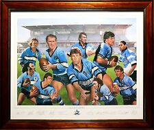 CRONULLA SHARKS PREMIERS 2016 CLUB LEGENDS HAND SIGNED MEMORABILIA PAINTING