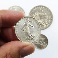 Lot de 4 Pièces françaises Semeuse en Argent 50 centimes + 1 + 2 + 5 francs