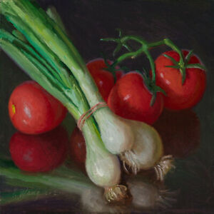"""Original still life oil painting a day realism green onion tomatoes 8x8"""", Y Wang"""
