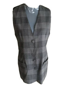 New Look Womens Waistcoat Size 12 Grey Checked With Buttons Formal Work Office