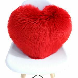 Heart Shaped Fur Plush Throw PillowFluffy Faux  Case Shaggy Sofa Cushion Cover