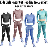 Kids Girls Hooded Ripped Cropped Lounge wear Joggers Tracksuit Age: 7-14 Years