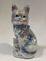 Vintage Porcelain Terrier Dog w/ Puppy Figurine Statue Iridescent Pearl Finish