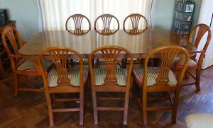 Lorna Dewey Yew 6/8 seat Dining Table with 6 Standard and 2 Carver Chairs