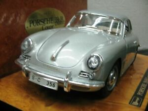 WOW EXTREMELY RARE Porsche 356B Coupe Silver Wooden Base 1:18 B burago/Executive