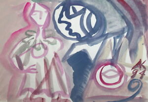 1994 ABSTRACT EXPRESSIONIST FIGURES WATERCOLOR PAINTING, SIGNED