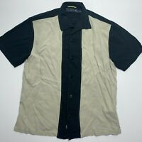 Nat Nast Mens Button Down Silk Bowling Shirt Short Sleeve Medium