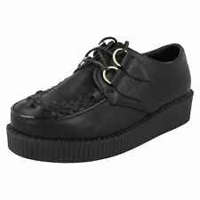 Ladies Black PU Lace up Platform Creeper Style Shoes - Spot on F9588 UK 6