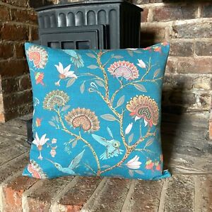 940. HUMMINGBIRD with FLOWERS on TEAL 100% Cotton Cushion Cover, Various sizes