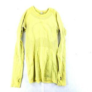 Women's Yellow Lulu Lemon Long Sleeve Nylon Stretch Work Out Shirt Size 4