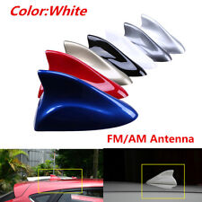 1x White Car Exterior Top Roof Aerial Shark Fin Style FM/AM Radio Signal Antenna