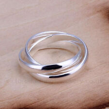 Silver Plated TRIPLE BAND RING/Thumb Ring UK Size:L1/2-R3/4  US:6-9 Infinity