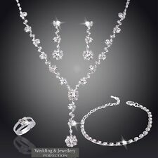 Bridesmaid Jewelry Set Bridal Jewellery Crystals Necklace Earring Bracelet Ring