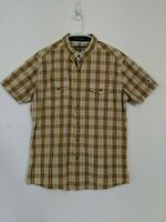 KUHL Mens Large Black, White Yellow Plaid Short Sleeve Button Up Shirt