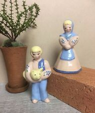 Kay Finch Peasant Boy and Girl Pink and Blue Mid Century Pottery made in CA