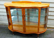 Vintage lockable timber mirrored display cabinet with glass doors