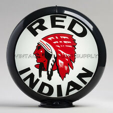 "Red Indian 13.5"" Gas Pump Globe w/ Black Plastic Body (G419)"