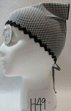 Triangle Kerchief Head Scarf Black & White Gingham New