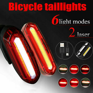 6 Modes LED USB Bicycle Cycling Tail Light Rechargeable Bike Rear Warning Light