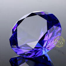 Blue Cut Crystal Diamond Shape Paperweight Glass Jewel Wedding Favor Gift 30mm