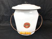 Vintage Lisk Flintstone Enamel Porcelain Ware Bucket Pot w/ Lid Wooden Handle