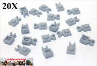 20X Lego® 4085 Platten 1X1 mit Halter / Clip Vertical neues Hellgrau NEU