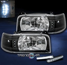 1992-1996 FORD BRONCO F150 F250 F350 LED BLACK CRYSTAL HEAD LIGHT+DRL KIT SIGNAL