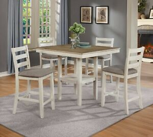 NEW Modern Farmhouse White Oak Counter-Height 5PC Dining Table 4 Chairs Pub Set
