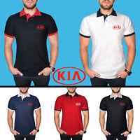 KIA Polo T Shirt COTTON EMBROIDERED Auto Car Logo Tee Mens Clothing Friend Gift